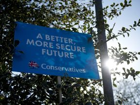 A Conservative party sign is displayed in the run up to the 2015 general election