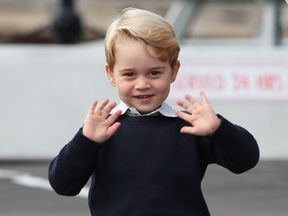 Prince George arrives with family to attend a ceremony to mark their departure at Victoria Harbour seaplane terminal in Victoria during the Royal Tour of Canada.