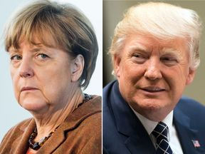 Angela Merkel is flying to Washington for her first meeting with Donald Trump