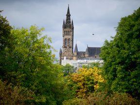 Glasgow University tower from Kelvingrove Park