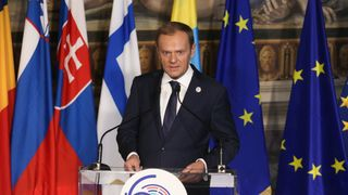 European Council President Donald Tusk delivers a speech during a debate on the future of the EU
