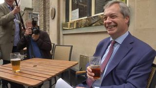 Nigel Farage enjoys a pint on the Article 50 was triggered
