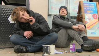 Two homeless people in Manchester who spoke with Sky News about using the drug spice