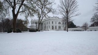 The White House surrounded by snow after the nor'easter