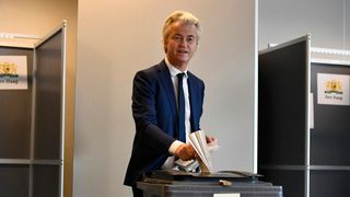 Dutch far-right politician Geert Wilders of the PVV party votes in the general election in The Hague, Netherlands