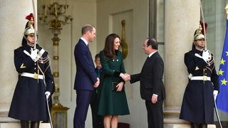 The Duke and Duchess of Cambridge depart after meeting French President Francois Hollande (right) at the Elysee Palace during an official visit to Paris, France. PRESS ASSOCIATION Photo. Picture date: Friday March 17, 2017. See PA story ROYAL Cambridge. Photo credit should read: Dominic Lipinski/PA Wire