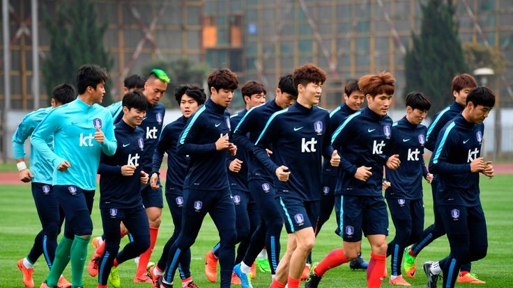 South Korea's players take part in a training session in Changsha