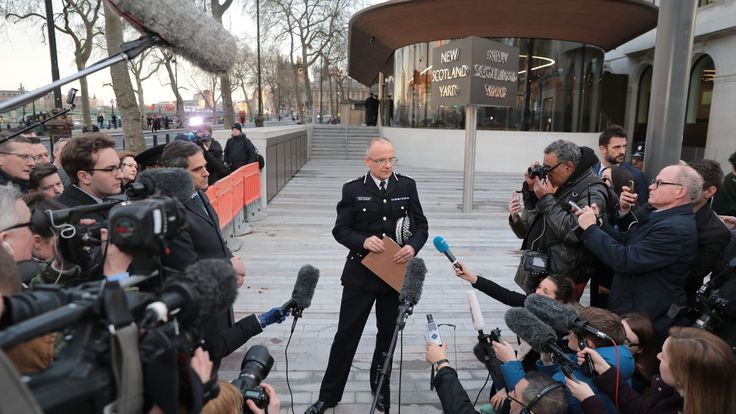 Met Police Assistant Commissioner Mark Rowley makes a statement outside of New Scotland Yard in London following the Westminster terror attack