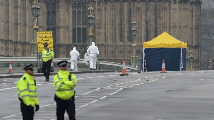 A forensics tent on Westminster Bridge