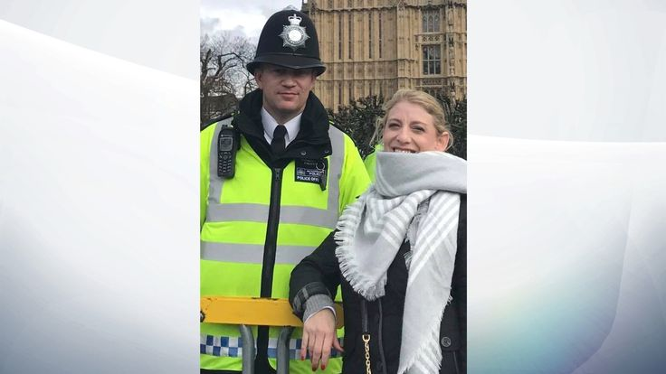 Last known picture of PC Keith Palmer with US tourist Staci Martin