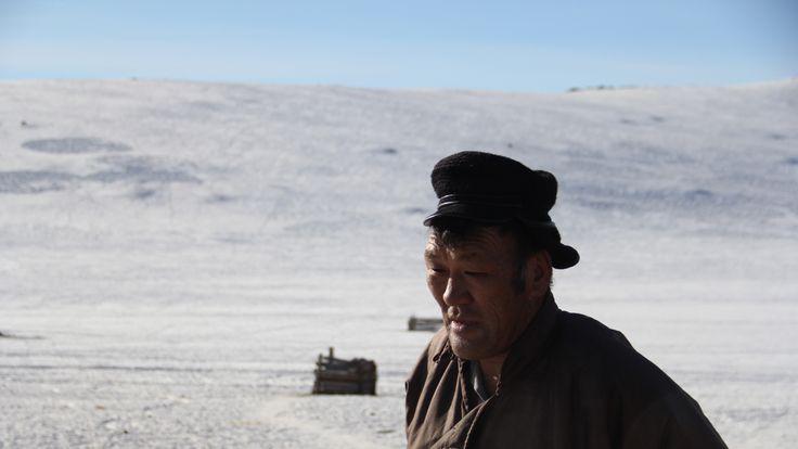 Herder Baatarkhuu Tserenbaljir at his family's winter camp in Arkhangai province