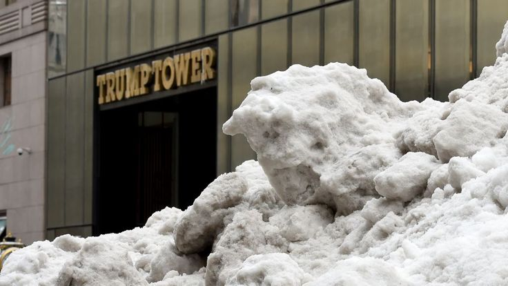 Snow from Storm Stella outside Trump Tower