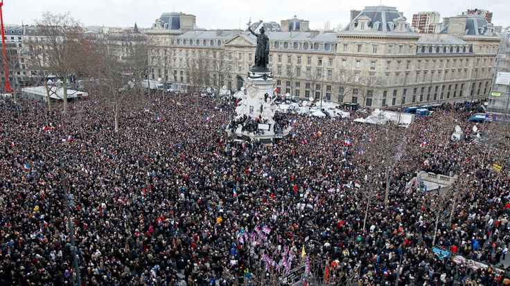 Hundreds of thousands of people gathering on the Place de la Republique to attend the unity march on 11 January 2015