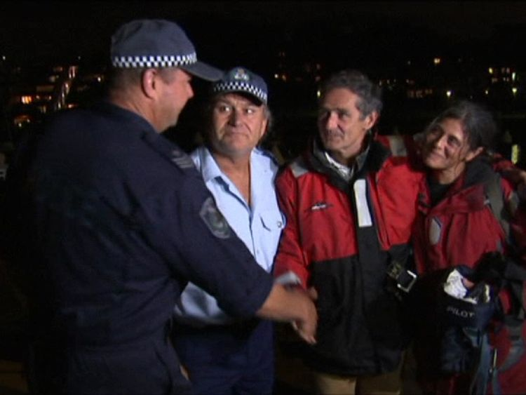 Nick Dwyer and Barbara Heftman thank their rescuers in Sydney after they were saved from rough seas between New Zealand and Australia