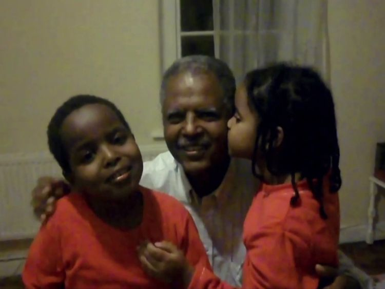 Andy Tsege pictured with his children