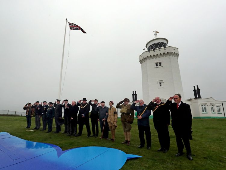 World War Two veterans give a salute to Dame vera at South Foreland Lighthouse in Dover