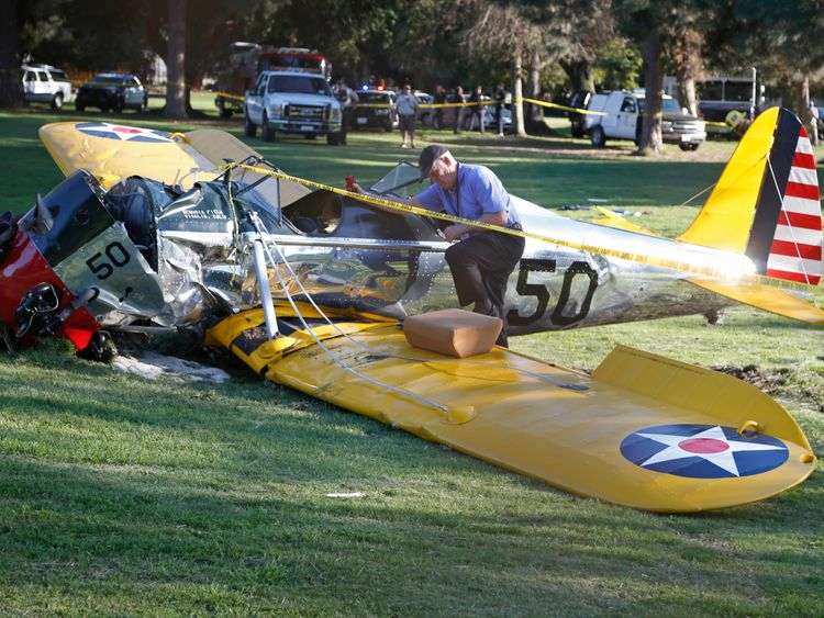 Ford crash landed his vintage plane onto a Los Angeles golf course back in 2015