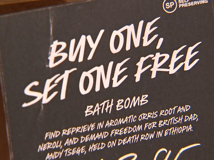 The retailer Lush is supporting Andy Tsege with a bath bomb called Buy One Set One Free