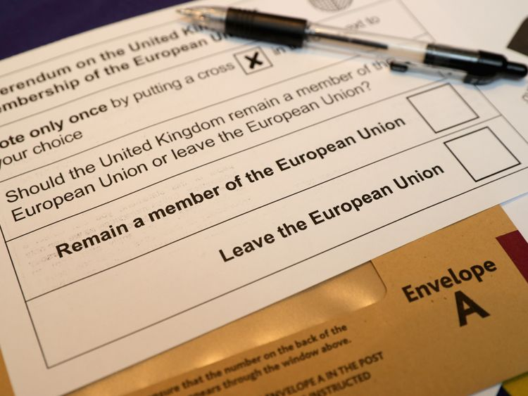 The voting slip for the EU referendum