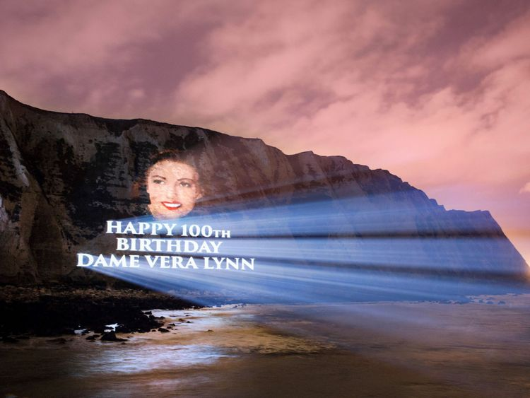 Undated handout from a practice run issued by Decca Records of a Dame Vera Lynn portrait projected onto the White Cliffs of Dover to celebrate Dame Vera's 100th birthday and release of her new album 'Vera Lynn 100'. PRESS ASSOCIATION Photo. Issue date: Monday March 20, 2017