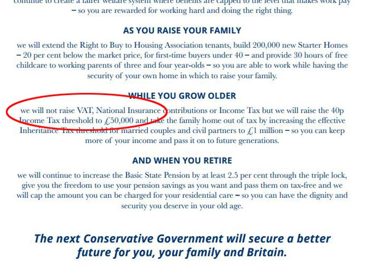 The Tory manifesto in 2015 said National Insurance would not rise