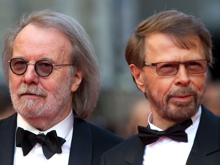 Singers Benny Andersson (L) and Bjorn Kristian Ulvaeus of the Swedish band Abba