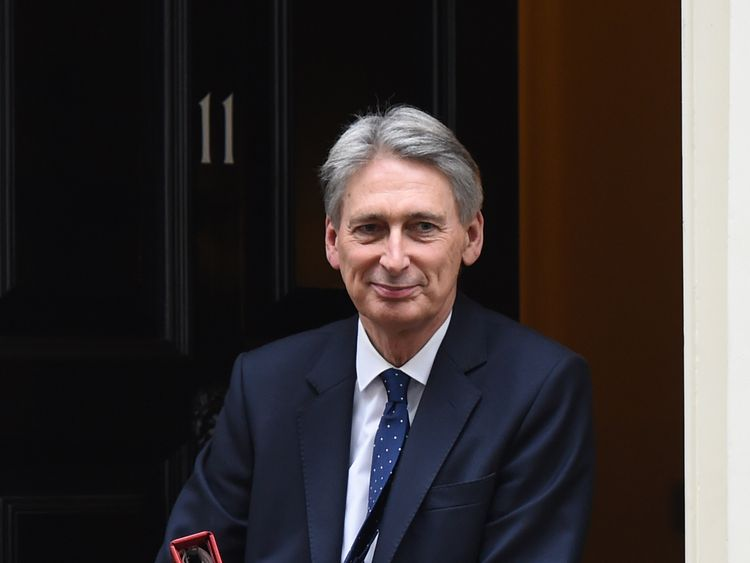 Chancellor Philip Hammond outside Number 11