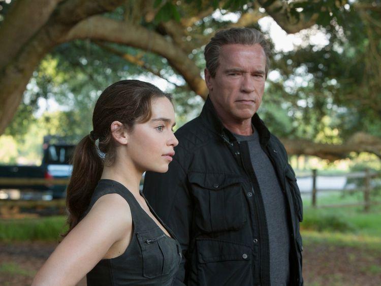 Arnie and Game of Thrones star Emilia Clarke in Terminator: Genisys