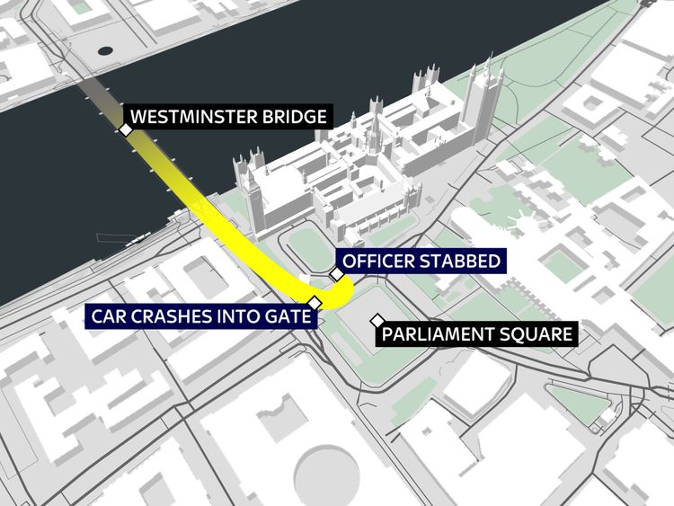 A map showing what happened in the Westminster terror attack