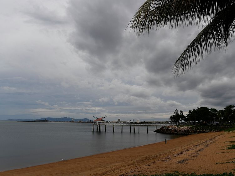 Grey skies in Townsville as the storm approaches the Queensland coast