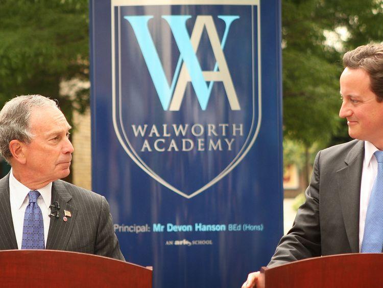 David Cameron with then New York Mayor Michael Bloomberg at Walworth Academy