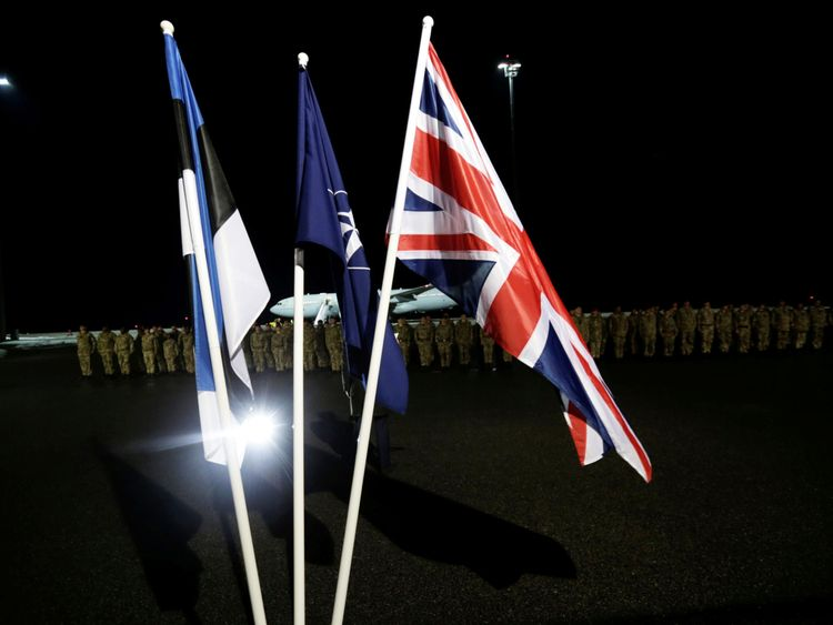 The troops are part of a NATO move to reinforce its eastern flank in a bid to deter a militarily resurgent Russia