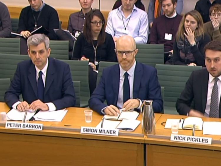 Peter Barron, Vice-President, Communications and Public Affairs for Google Europe, the Middle East and Africa; Simon Milner, Policy Director for the UK, Middle East and Africa for Facebook, and Nick Pickles, Senior Public Policy Manager for UK and Israel for Twitter in front of the Home Affairs Select Committee in the House of Commons, London answering questions on the subject of Hate crime and its violent consequences