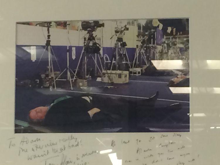 Adam Boulton taking a nap at the Nice summit