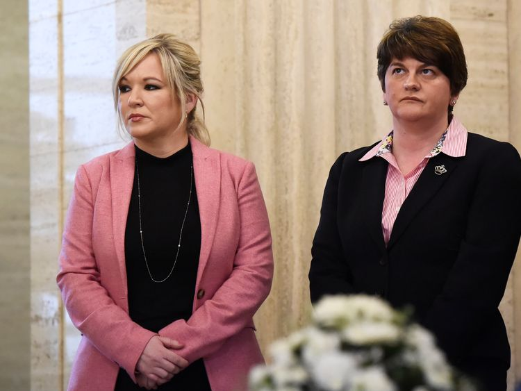 Michelle O'Neill (L) and Arlene Foster