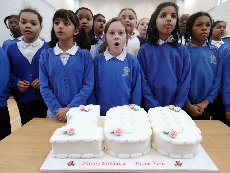 The pupils at Brampton did a virtual presentation of a birthday cake to Dame Vera