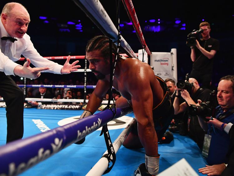 LONDON, ENGLAND - MARCH 04:  David Haye falls through the ropes during his Heavyweight contest against Tony Bellew at The O2 Arena on March 4, 2017 in Lond