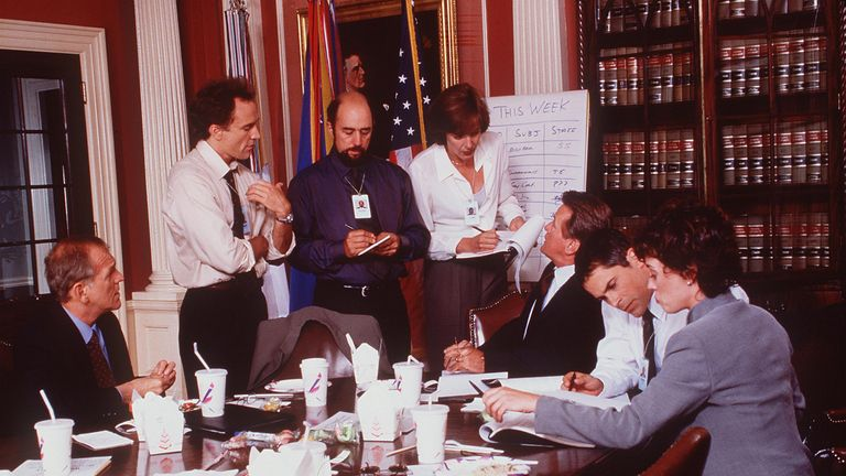 Moira Kelly, Dule Hill, Rob Lowe, Richard Schiff, Martin Sheen, John Spencer, Allison Janney, and Bradley Whitford in The West Wing. Pic: NBC