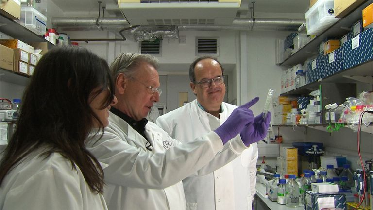 Chief executive of the Institute of Cancer Research, Professor Paul Workman, in the middle.