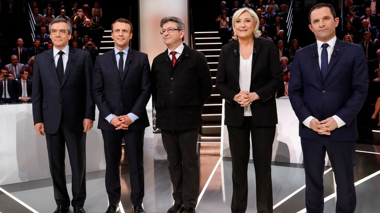 The five candidates in the French election appeared in a marathon Tv debate