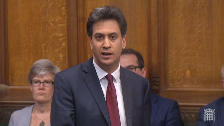 Former Labour leader Ed Miliband asks a question after Theresa May's announcement