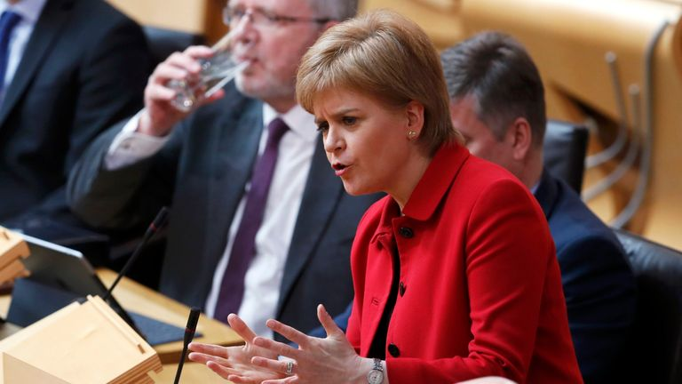 First Minister Nicola Sturgeon attends a debate on a second referendum on independence at Scotland's Parliament in Holyrood, Edinburgh