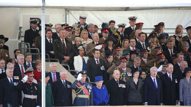 The Queen and other members of the Royal family alongside other guests at the ceremony