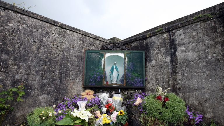 A shrine in Tuam, in memory of hundreds of children allegedly buried at the site