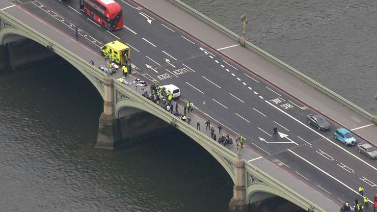 Aerial shot of emergency services at the scene following terror attack in Westminster, London