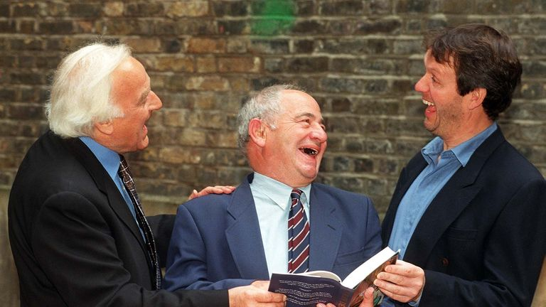 John Thaw and Kevin Whately joke with author Colin Dexter in 1996
