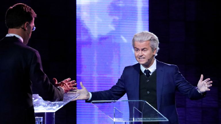Geert Wilders and Dutch PM Mark Rutte clash during a TV debate