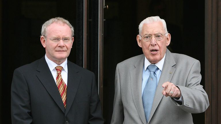 Northern Ireland First Minister Ian Paisley and Deputy First Minister Martin McGuinness speak to the press before a meeting of the British-Irish Council at Stormont, 2007