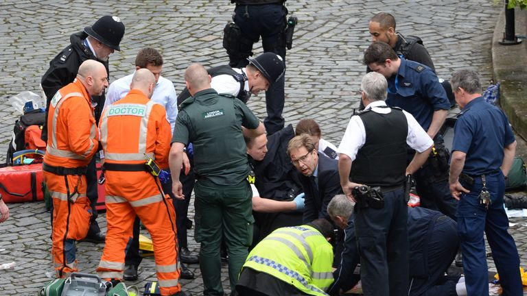 Conservative MP Tobias Ellwood was among those who attempted to help the injured police officer