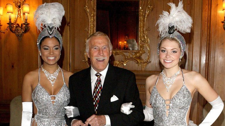 Bruce Forsyth is joined by Miss Puerto Rico (left) and Miss England to celebrate his 80th birthday at the Dorchester Hotel in central London. 2008